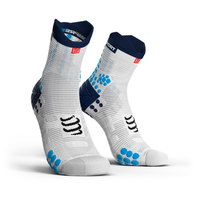 COMPRESSPORT Racing Socks V3.0 Run Hi White Blue