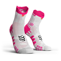 COMPRESSPORT Racing Socks V3.0 Run Hi White Pink